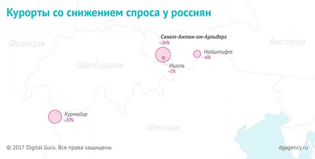 Курорты со снижением спроса среди россиян